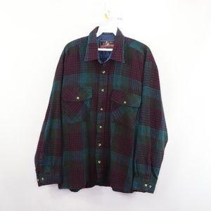 Vintage Double Pocket Flannel Plaid Shirt Large